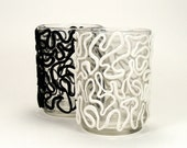 Black & White Clay Lace Set of Glass Votive Candle Holders - Twist - Victorian, Lace, Bridal, Home Decor