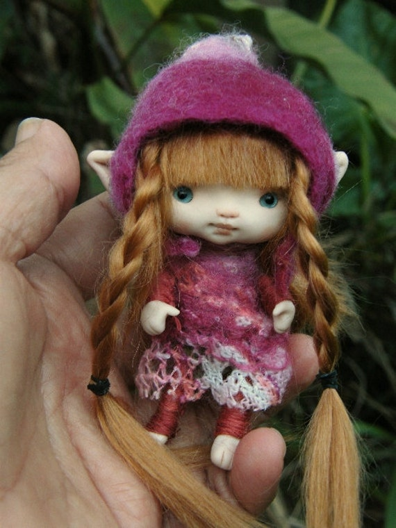 sweet  3.5 inches  redhaired  tiny fairy fairie  posable ooak