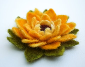 Felted Flower Brooch Yellow Fall Winter Jewelry Collection Gift CUSTOM ORDER ONLY