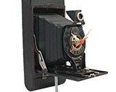 Clock-Upcycled-Vintage Kodak 2A Autographic Brownie Camera Geekery