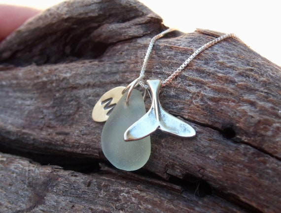 RESERVED for Kathryn.  Sea glass jewelry,  Personalized seafoam green sea glass necklace with sterling silver whales tail