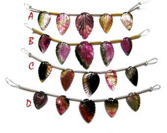 Water Melon Tourmaline Carving Leaf Beads Strands , Gorgeous Bi Colour Tourmaline carved Gemstone 1 bead line