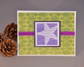 Purple and Green Christmas Card with Handstamped Star - Purple Holiday Card