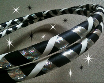 Stargaze Dance & Exercise Hula Hoop COLLAPSIBLE or Push Button - black and white silver rainbow beginner hula hoop
