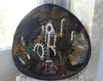 Longwy Enamel Art Pottery Mid Century Wall Plaque Le Hameau