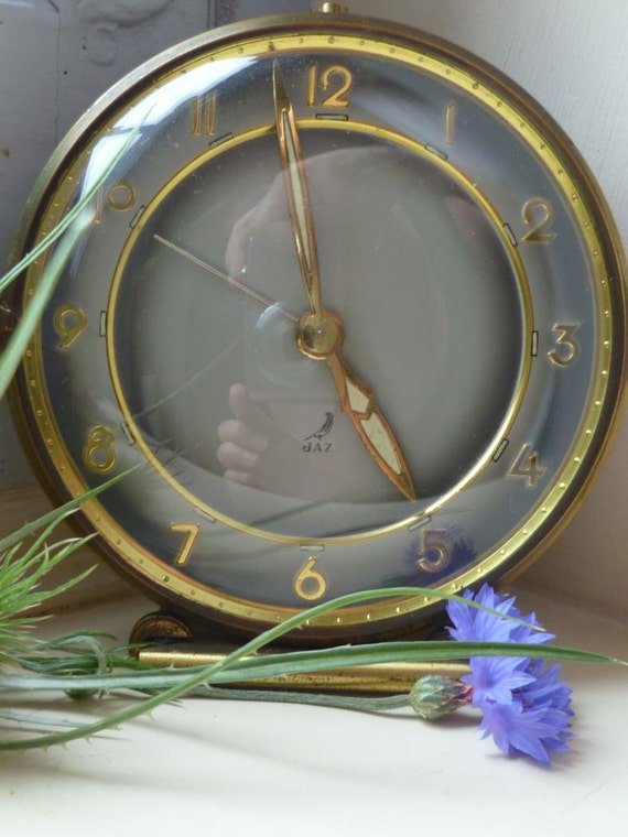 Jaz Alarm Clock French Vintage Mid Century Modern Brass Alarm Clock with Winding Movement
