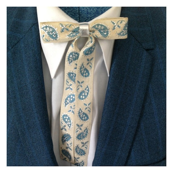 Mens 1950 S Vintage Paisley Western Clip On Tie By Bamapana