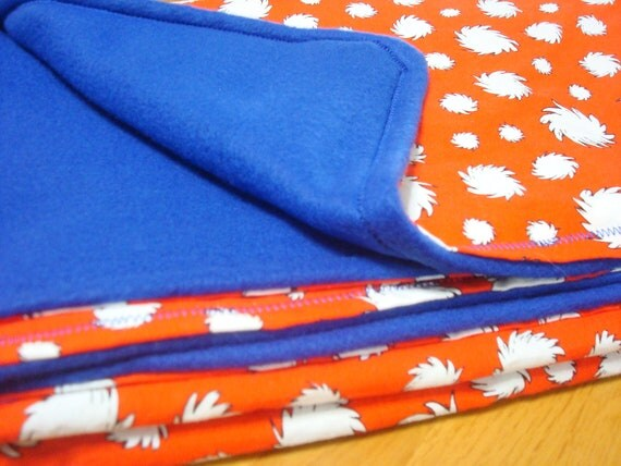 The Lorax fleece blanket - Red White and Blue - 41x33 - last one