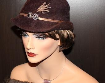 SPRING SALES!! Vintage French Hat - Fur Felt