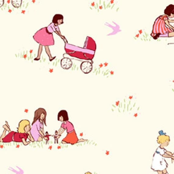 """Michael Miller Fabric - SARAH JANE - Children at Play Collection - Dolls in Cream - Last 28.5"""""""