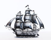 Vintage pirate ship boat model black
