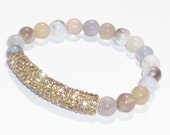 Beaded Bracelet with Semiprecious Gemstone Persian Gulf Agate and Gold Crystal Bar