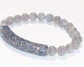 Semiprecious Gemstone Madagascar Labradorite Beaded Bracelet with Gunmetal Crystal Bar