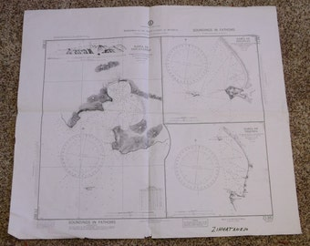 Vintage Harbors On The West Coast Of Mexico Nautical Chart 1974