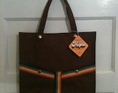 ERICA : Vintage 70s Chocolate Brown & Rainbow Tote Bag