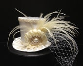 Off White Ivory  Mini Top Hat for Wedding, Bachelorette Party, Bridal Shower, Tea Party or Photo Prop