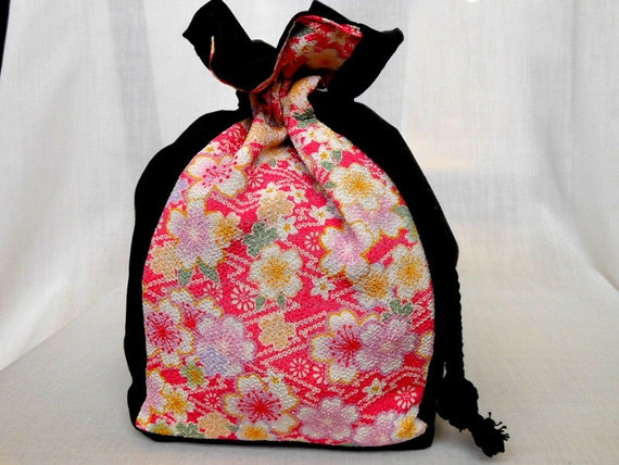 Cosmetic Bag Small Drawstring Bag Jewelry Bag Pouch OOAK Authentic Japanese Kimono Floral Fabric Cherry Blossoms Pink In Stock