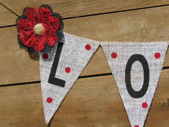 Valentine's Day Banner / LOVE Burlap Banner / Photography Prop
