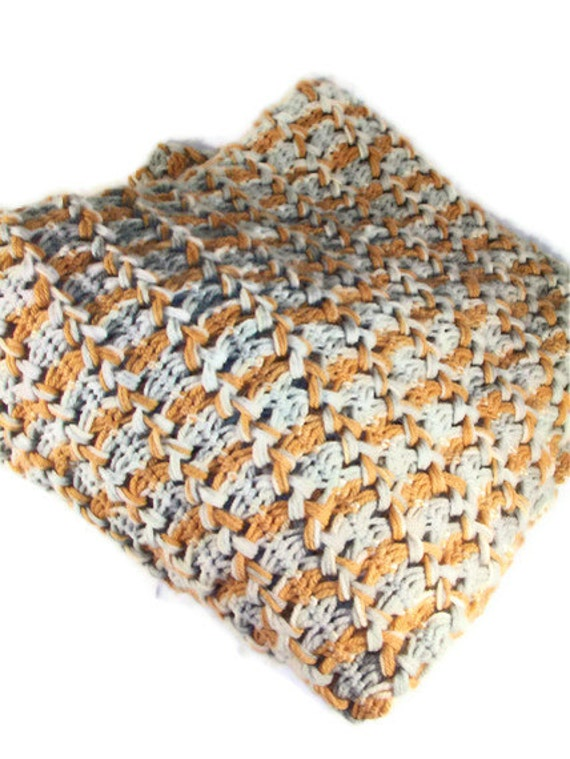 Vintage Afghan Crochet Blanket Throw Orange Gray Braided  Vintage