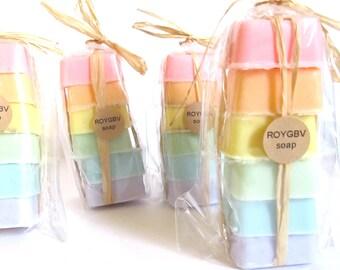 RAINBOW Pastel ROYGBV Sampler Soap Set of 6