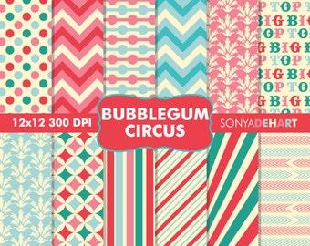 60% OFF SALE Digital Paper Bubblegum Circus Carnival Background Patterns