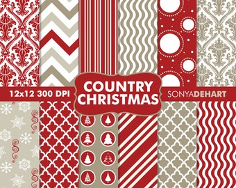 80% OFF Sale Digital Paper Country Christmas Background Patterns