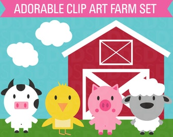 Clipart Farm Animal Set Barn Cow Chicken Sheep Pig and Clouds Clip Art
