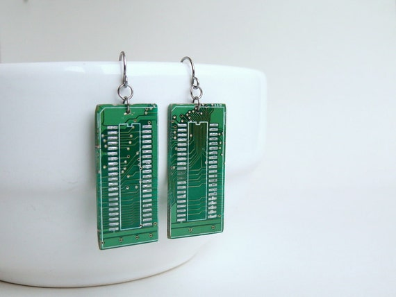 Circuit board geekery earrings Green - recycled computer eg604 ready to ship