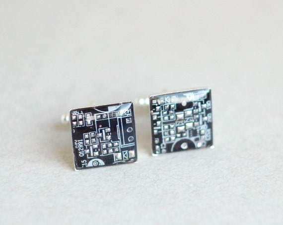 SALE Circuit board Cuff links Geekery Brown Squares - br5561 ready to ship