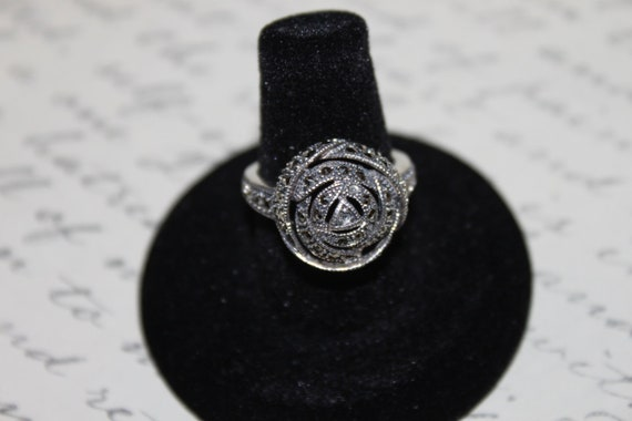 Vintage Sterling & Marcasite Knotted Ring, signed