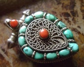 Vintage Tibetan Prayer Box Pendant Turquoise and Coral Intricate Design Sterling Silver Amulet