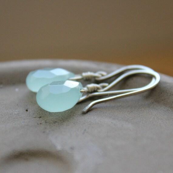 "Aqua blue Chalcedony glass faceted briolettes sterling silver wire aquamarine--""Glacier"""
