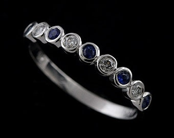 diamond sapphire wedding ring blue sapphire bezel wedding band half way gemstone wedding band