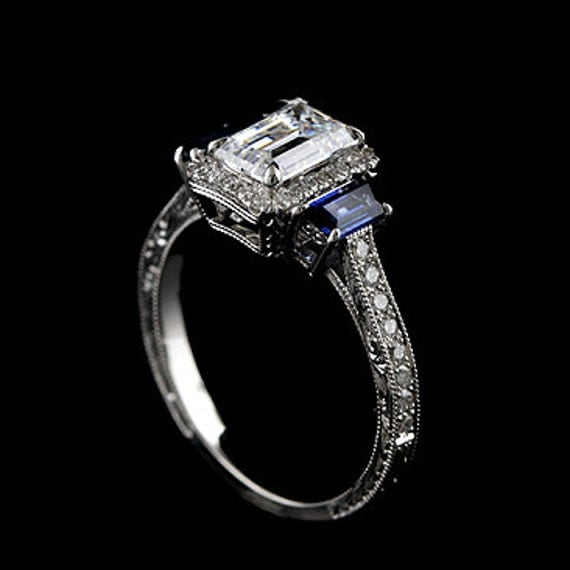 Hand Engraved Diamond Trapezoid Sapphire Vintage Style 14k White Gold Engagement Ring Mounting