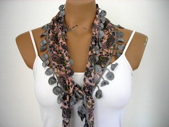 Cotton Scarf in Peach Salmon Pink Green Gray