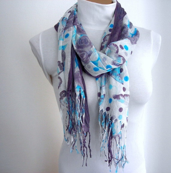 Floral Cotton Women Scarf in Blue Gray, Cotton Scarf