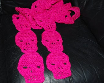 Crocheted Skull Scarf in Shocking Pink