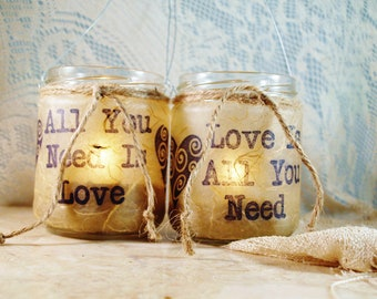 """2 Hanging Candle Jars,  """"All You Need is Love"""", Wedding Lighting, by Green Orchid Design Studio"""