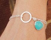 Turquoise Blue Bracelet - Sterling Silver Infinity Bracelet - Bridesmaid Bracelet - Blue Glass Bracelet