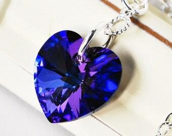 Blue Heart Necklace, Sterling Silver Purple Amethyst Sapphire Blue Swarovski Crystal Heart Pendant,  Valentines Day Gift