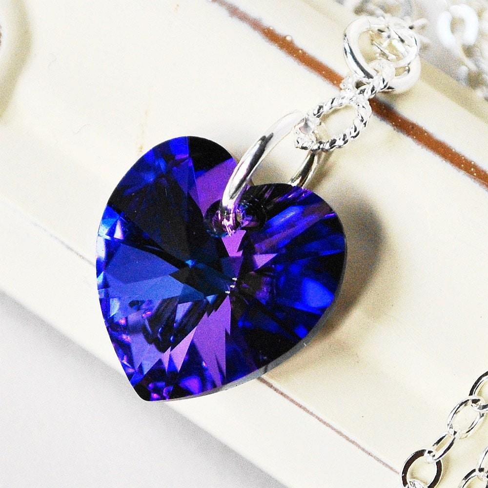 Blue Heart Necklace Sterling Silver Purple Amethyst Sapphire