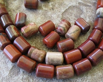 Barrel Big Hole Rainbow Jasper Bead 10MM X14MM Large Drum 10 Red Gemstone  Beads