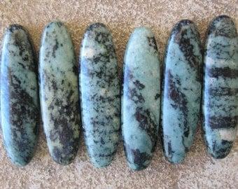 Green Zebra Jasper Focal Bead Twice Drilled Oval 8 x 30MM 6 Beads