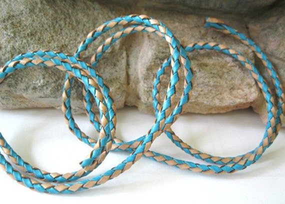 Bolo Braided Leather Cord 3MM Turquoise and Natural Blend 1 Yard Sale