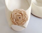 Handmade rose shoe clips in tan
