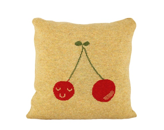 """Decorative Pillow -  Cheery-up Cherries - soft knitted pillow - yellow 16""""x16"""", includes insert"""