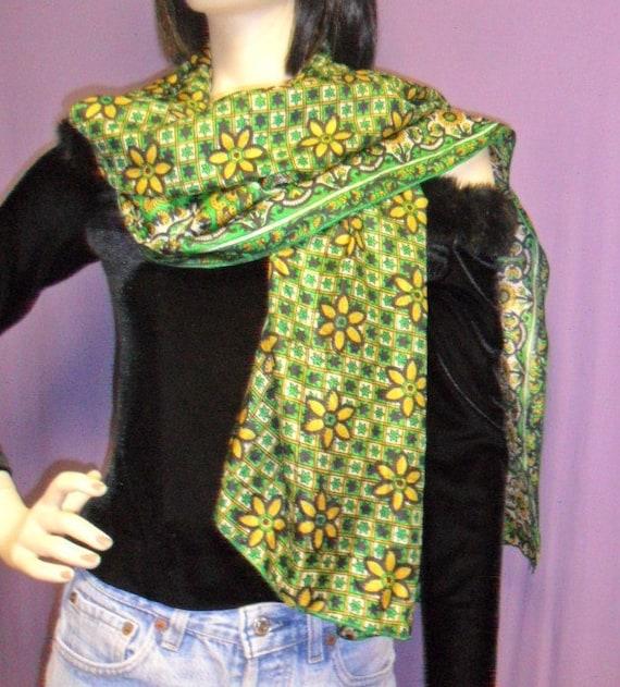 Neck Scarf----Recycled Vintage SARI Silk-- --Darling Green Floral