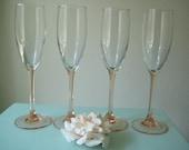 Pink Champagne Flutes/ Arcoroc France Champagne Glasses/ Vintage Pink Stemmed French Glasses / Pink Wedding