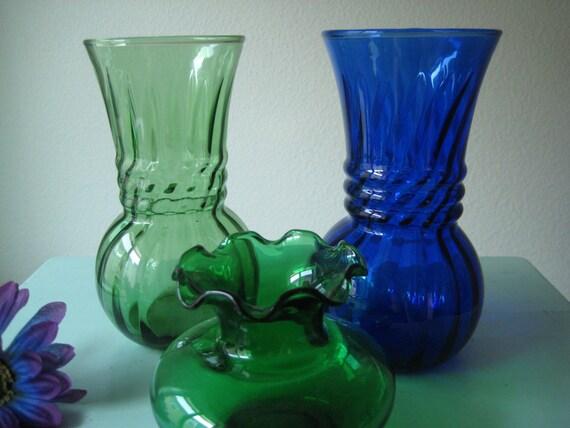 Pretty Vase Trio Green Vase And Cobalt Blue Vase Vintage