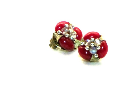 Vintage Burgundy Earrings, Deep Red, Crystals, Gold, Hand Wired, Mid Century, Japan, Gift For Mom